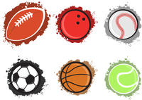 Vector illustration of different sport balls on the grunge background.