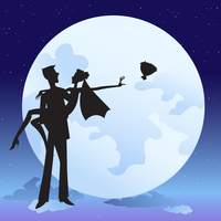Vector illustration of  bride and bridegroom in  romantic night on the sky background with Giant beautiful full moon 60016009551| 写真素材・ストックフォト・画像・イラスト素材|アマナイメージズ