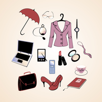 Vector illustration of different items related to business woman lifestyle. 60016009583| 写真素材・ストックフォト・画像・イラスト素材|アマナイメージズ