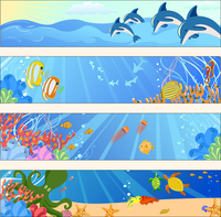 Vector illustration of Colorful banners set with creatures of the seas. Friendly kids style. 60016009605| 写真素材・ストックフォト・画像・イラスト素材|アマナイメージズ