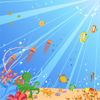 Vector illustration of Colorful background with creatures of the seas. Friendly kids style. 60016009628| 写真素材・ストックフォト・画像・イラスト素材|アマナイメージズ