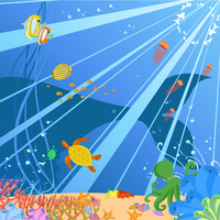 Vector illustration of Colorful background with creatures of the seas. Friendly kids style. 60016009642| 写真素材・ストックフォト・画像・イラスト素材|アマナイメージズ