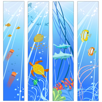 Vector illustration of Colorful banners set with creatures of the seas. Friendly kids style. 60016009646| 写真素材・ストックフォト・画像・イラスト素材|アマナイメージズ