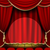 Theater stage  with red curtain. Clipping Mask 60016011204| 写真素材・ストックフォト・画像・イラスト素材|アマナイメージズ