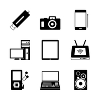 Vector icon set of electronic mobile devices 60016012755| 写真素材・ストックフォト・画像・イラスト素材|アマナイメージズ