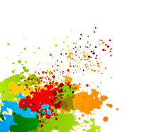 Bright colorful background with splashes of paint 60016013067| 写真素材・ストックフォト・画像・イラスト素材|アマナイメージズ
