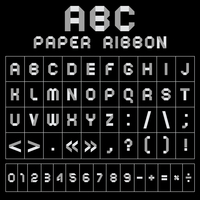 ABC font from paper tape, gray with black background 60016013136| 写真素材・ストックフォト・画像・イラスト素材|アマナイメージズ