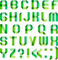 Spectral letters folded of paper ribbon-green 60016013157| 写真素材・ストックフォト・画像・イラスト素材|アマナイメージズ