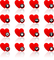 Icons set - red hearts and black buttons 60016013169| 写真素材・ストックフォト・画像・イラスト素材|アマナイメージズ