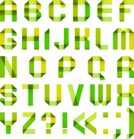 Spectral letters folded of paper ribbon-green and yellow 60016013195| 写真素材・ストックフォト・画像・イラスト素材|アマナイメージズ