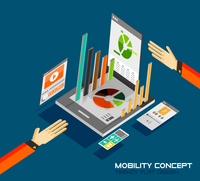 Mobility concept flat design. 3d tablet with graphics, calculator, movie, music concepts 60016014230| 写真素材・ストックフォト・画像・イラスト素材|アマナイメージズ