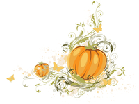 Halloween pumpkin and floral ornament on a white background 60016015576| 写真素材・ストックフォト・画像・イラスト素材|アマナイメージズ
