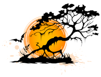 Halloween background with silhouette of a tree and setting sun 60016015728| 写真素材・ストックフォト・画像・イラスト素材|アマナイメージズ