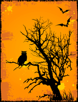 Halloween background  with owl,tree and grunge background 60016015897| 写真素材・ストックフォト・画像・イラスト素材|アマナイメージズ