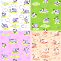 Set of four seamless patterns with cute sheeps 60016016620| 写真素材・ストックフォト・画像・イラスト素材|アマナイメージズ