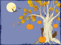 Halloween vector background with tree and pumpkins 60016020126| 写真素材・ストックフォト・画像・イラスト素材|アマナイメージズ