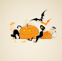 Halloween vector background with pumpkins and ghost 60016020159| 写真素材・ストックフォト・画像・イラスト素材|アマナイメージズ