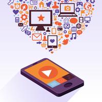 Vector mobile phone with app icons - infographic design elements in flat retro style 60016020944| 写真素材・ストックフォト・画像・イラスト素材|アマナイメージズ