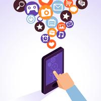 Vector mobile phone with app icons - infographic design elements in flat retro style 60016020945| 写真素材・ストックフォト・画像・イラスト素材|アマナイメージズ