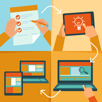 Vector web design process - icons and illustrations in flat style 60016020963| 写真素材・ストックフォト・画像・イラスト素材|アマナイメージズ