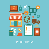 Vector e-commerce icons and signs in flat style - online shopping and internet 60016021001| 写真素材・ストックフォト・画像・イラスト素材|アマナイメージズ