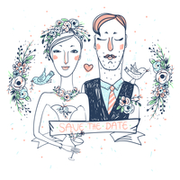 vector wedding illustration of pretty bride and groom with flowers and birds 60016021915| 写真素材・ストックフォト・画像・イラスト素材|アマナイメージズ