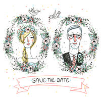 vector portraits of lovely newlyweds for a wedding design 60016021932| 写真素材・ストックフォト・画像・イラスト素材|アマナイメージズ