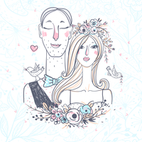 vector illustration of a young pair for wedding design 60016021944| 写真素材・ストックフォト・画像・イラスト素材|アマナイメージズ