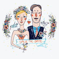 vector illustration of a bride and a groom for wedding design 60016021945| 写真素材・ストックフォト・画像・イラスト素材|アマナイメージズ