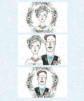 vector set of hand drawn cards with brides and grooms for a wedding design 60016021995| 写真素材・ストックフォト・画像・イラスト素材|アマナイメージズ