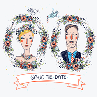 two vector portraits of a wedding couple with floral frames 60016021996| 写真素材・ストックフォト・画像・イラスト素材|アマナイメージズ