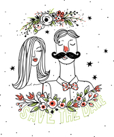 vector illustration of a cute pair and abstract flowers 60016022135| 写真素材・ストックフォト・画像・イラスト素材|アマナイメージズ