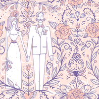 vector wedding  seamless pattern with a pretty pair and vintage roses 60016022164| 写真素材・ストックフォト・画像・イラスト素材|アマナイメージズ