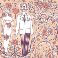vector wedding  seamless pattern with a funny pair and vintage roses 60016022165| 写真素材・ストックフォト・画像・イラスト素材|アマナイメージズ