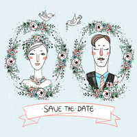 vector portraits of a pretty bride and a funny groom 60016022178| 写真素材・ストックフォト・画像・イラスト素材|アマナイメージズ