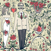 vector wedding seamless pattern with a funny couple and blooming flowers 60016022182| 写真素材・ストックフォト・画像・イラスト素材|アマナイメージズ