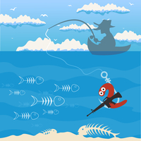 Fishing2. The man by a boat fishes. A vector illustration 60016022336| 写真素材・ストックフォト・画像・イラスト素材|アマナイメージズ