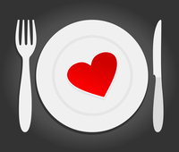 Heart on a plate. Red heart lays on a plate. A vector illustration 60016022692| 写真素材・ストックフォト・画像・イラスト素材|アマナイメージズ