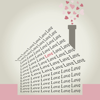 The house made of a word love. A vector illustration 60016023043| 写真素材・ストックフォト・画像・イラスト素材|アマナイメージズ