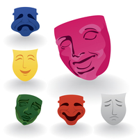 Mask4. Set of icons of masks of fun and grief. A vector illustration 60016023090| 写真素材・ストックフォト・画像・イラスト素材|アマナイメージズ