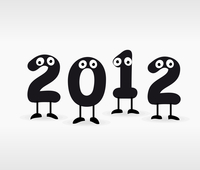 2012. Figures with eyes in new year. A vector illustration 60016024815| 写真素材・ストックフォト・画像・イラスト素材|アマナイメージズ