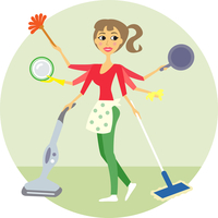 Housewife of all trades, washing and cleaning vector illustration 60016027122| 写真素材・ストックフォト・画像・イラスト素材|アマナイメージズ