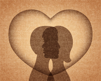 Couple in love silhouettes, heart background vector illustration 60016027334| 写真素材・ストックフォト・画像・イラスト素材|アマナイメージズ