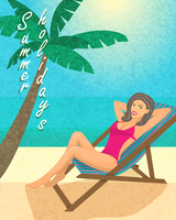 Summer holiday poster, print or banner template vector illustration