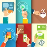Business hands in action, pay, buy, transfer money vector illustration 60016027483  写真素材・ストックフォト・画像・イラスト素材 アマナイメージズ