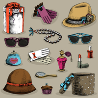 Women,s accessories set of gloves glasses hat lipstick and perfume, decorative isolated vector illustration 60016027524| 写真素材・ストックフォト・画像・イラスト素材|アマナイメージズ