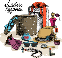 Ladies happiness. Women,s accessories from open gift box still life vector illustration 60016027526| 写真素材・ストックフォト・画像・イラスト素材|アマナイメージズ