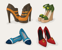 Fashion woman,s shoes collection of ankle boots sandals and ballet flats isolated vector illustration 60016027945| 写真素材・ストックフォト・画像・イラスト素材|アマナイメージズ