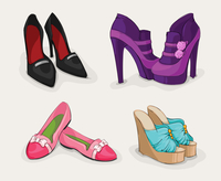 Fashion collection of classic woman,s black shoes on high heels ankle boots and sandals isolated vector illustration 60016027946| 写真素材・ストックフォト・画像・イラスト素材|アマナイメージズ