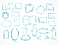 Collection of hand drawn doodle frames and design elements for decoration with place for text isolated vector illustration 60016027984| 写真素材・ストックフォト・画像・イラスト素材|アマナイメージズ
